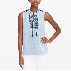J Crew stripes embroidered tunic top size 4